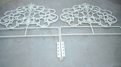 Vintage Ornate 1960s Rococo Style White Painted Metal Iron Twin Headboard