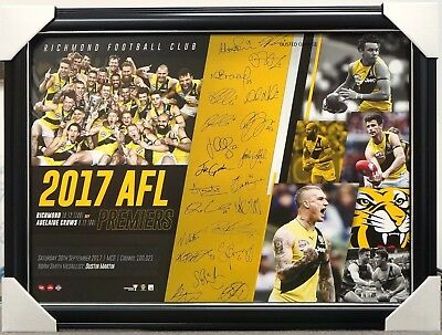 Richmond Signed Afl 2017 Premiers Print Framed Dustin Martin Grand Final Winners