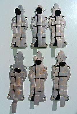 """6 small BOLTS french old Antique style door furniture heavy brass flush 4.1/2"""" B"""
