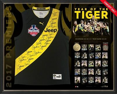 Richmond Tigers Signed 2017 Premiers Jumper Framed Afl Grand Final Team Signed
