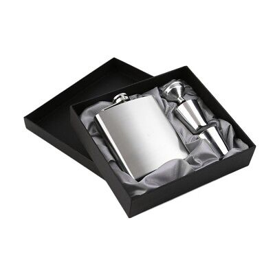 7oz Stainless Steel Pocket Hip Flask Funnel Cups Set Drink Bottle Gift New BE