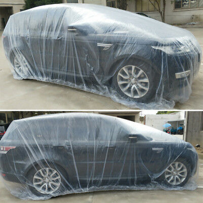 Clear Plastic Disposable Universal Car Covers Rain Dust Garage Cover Waterproof