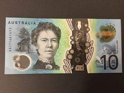 AUSTRALIA New $10 Dollars AA First Prefix 2017 Lowe/Fraser UNC Banknotes