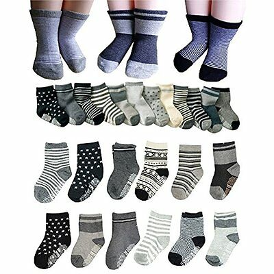 Sale BS 6 Pairs 2-3 Years Baby Boys Toddler Anti Slip Skid Slipper Stretch Knit