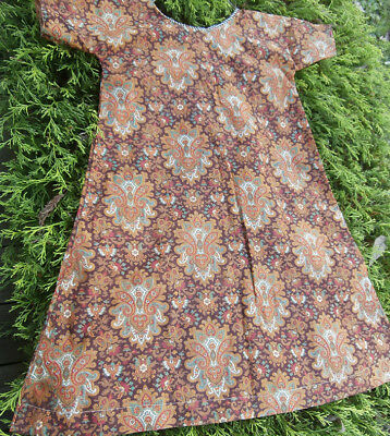 Sweet Simple ANTIQUE early 1900's CHILD'S Brown Calico Print DRESS, hand made