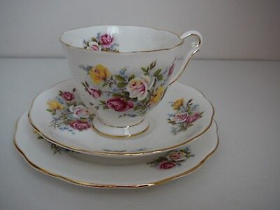 "Queen Anne Trio ""Country Gardens"" Vintage Cup Saucer Plate Made in England"