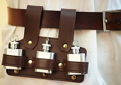 LARP-SCA-Hang from Belt TRIPLE TIPPLES LEATHER HOLDER & 3 SMALL HIP FLASKS