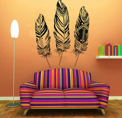 88a25b586 Wall Room Decor Art Vinyl Sticker Mural Decal Indian Plumage Feathers Cool  FI184