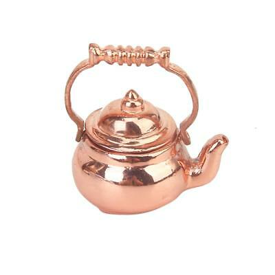 12th Copper Kettle Tea Pot with Lid Doll House Miniature Kitchen Accessory