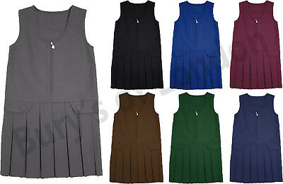 Zip Front 2 Button Box Pleat Pinafore, School Wear Uniform Dress Age 2 to 16