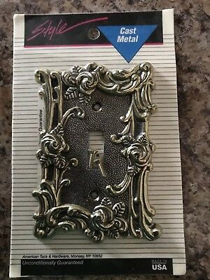 Style - Vintage Cast Metal Single Light Switch Cover Plate - NOS