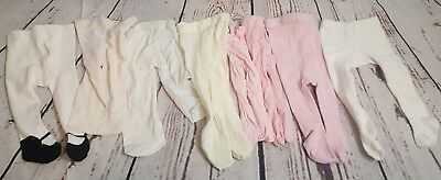 Lot Of 8 Baby Girl Tights Size 0-9 Months Thin & Thick Pink & White Shoe Print