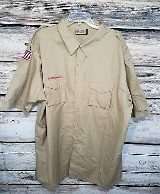Boy Scouts Of America Mens Size 4XL Cotton Blend Embroidered Flag Patch Brown