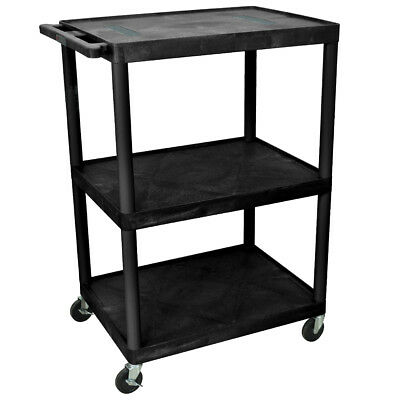 Luxor LE48-B 48-Inch Black Three Shelf Rolling Endura Audio and Video Cart