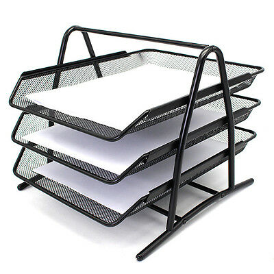 1PC Paper Letter Tray Office Desk Organizer Steel 3 Tier Mesh Rack AB  Stackable
