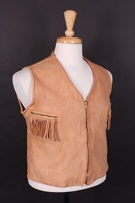 Vtg 50S Buckskin Leather Western Fringe Waist Coat Vest Mens Medium