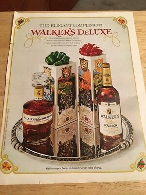 Vintage Magazine Print Ad - 1972 WALKERS DELUXE BOURBON WHISKEY