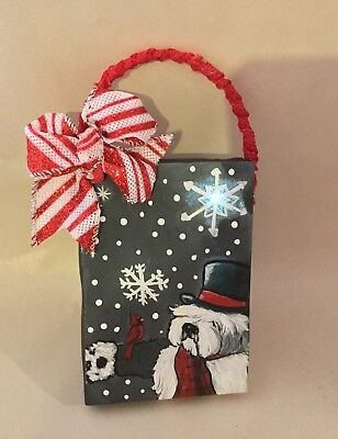 hand painted Old English sheepdog LIGHTED Christmas ornament #2