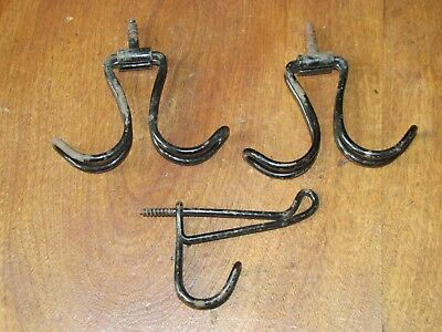 2 Matching Antique Victorian Iron Wire Coat or Hat Ceiling Hooks & 1 Wall Hook