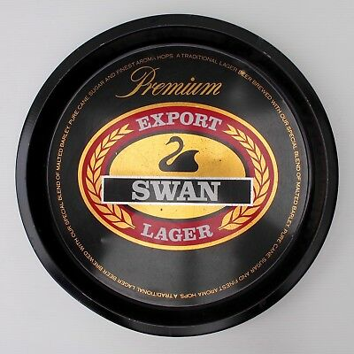 Swan Export Lager Round Tin Drinks Tray in Black, Gold & Red c.1970s