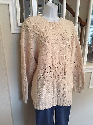 Womens Express Cable Knit Sweater winter white Size Medium M Oversized