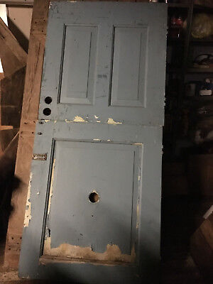 dutch door vintage antique chippy paint blue gray