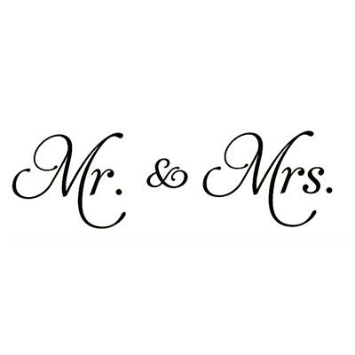 Mr. & Mrs.pvc decals decor wall stickers words family decal quotes(black)53 H3L4