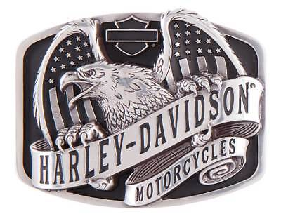 Harley-Davidson Men's Wings Over America Belt Buckle, Antique Silver HDMBU11402