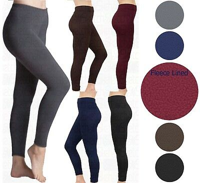 New Women Ladies Fleece Leggings Thick Winter Thermal Legging Lining Size 8-18