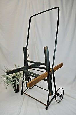 "Antique Vintage Wooden Garden / Fire Hose Reel Wheeled Cart~Green paint~36""x18"""