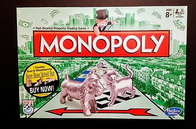 MONOPOLY CLASSIC Original Family Board Game New Cat Token Sealed New in box