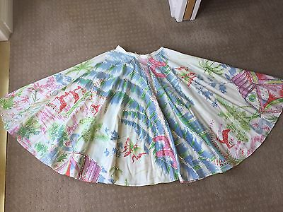 Vintage Cotton Circle Sequin 1950's Deer Motif Skirt SZ Small BoHo NWT