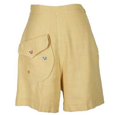 Vintage 50s Linen Shorts Butterfly Patches Big Pocket Walking Shorts