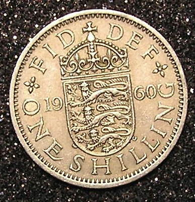 1-Coin from Great Britain.  1-Shilling.  1960.    24mm.
