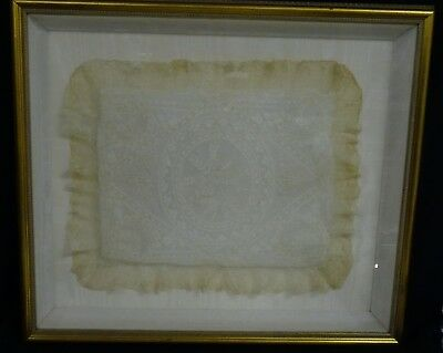 Framed Antique French Tulle Embroidery Lace Boudoir Cushion Pillow