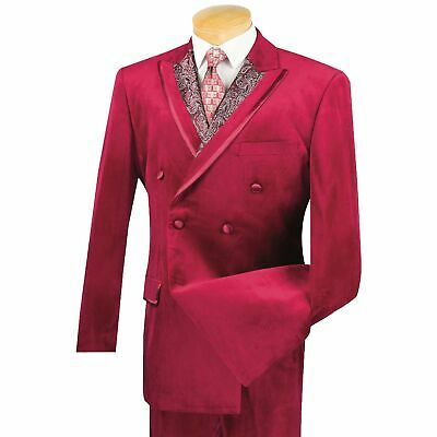 Men's Burgundy Velvet Double Breasted Classic-Fit Suit w/ Paisley Trim NEW