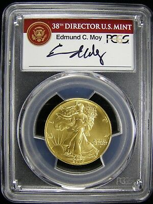 2016-W WALKING LIBERTY HALF DOLLAR CENTENNIAL GOLD PCGS SP70 FS Moy Signed