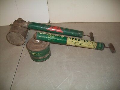 2 Bug Sprayers Metal Vintage Cross Country Sears & Roebuck Wood Handle