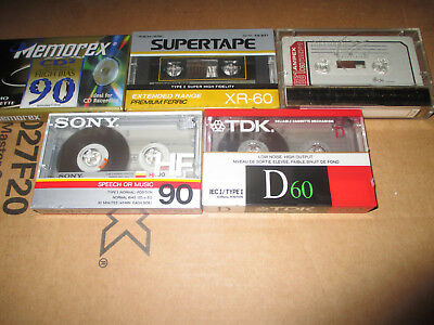 Lot of 5 Mixed Cassettes TDK, Sony, Memorex, Ampex, Realistic.