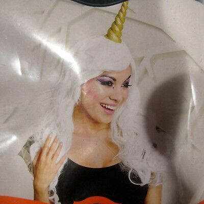 997b01e9ac043 Unicorn Wig Gold Horn White Hair Adult One Size Fantasy Cosplay Costume Sc  1 St PicClick