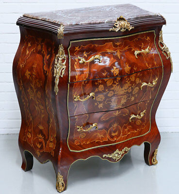 FRENCH Louis-XV-STYLE COMMODE with MARBLE-TOP, franz. RESIDENZ KOMMODE 3-schübig
