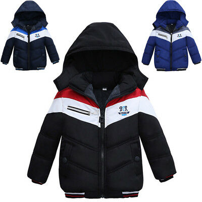 a819b2c71cbe KID INFANT BABY Boy Thick Coat Cotton Padded Warm Jacket Hooded ...