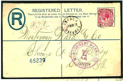 W244 1913 BAHAMAS Registered *Inagua* Postal Stationery Envelope Cover Chicago