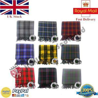 Scottish Piper Kilt Fly Plaid Various Tartans Acrylic Wool + Stone Brooch Chrome