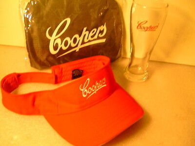 Coopers Backpack & Coopers Sparkling Ale Sunvisor & Beer Glass