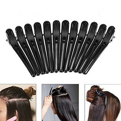 12Pcs Black Hair Grip Clips Hairdressing Sectioning Cutting Clamps Plastic CU