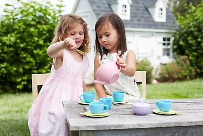 Pretend Play for Indoor and Outdoor Green Toys TEA01R Tea Set Kids Kitchen Toys