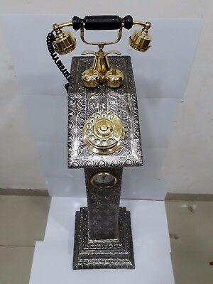 Vintage Phone Antique Wodden Brass Look Working Phone With Stand Set