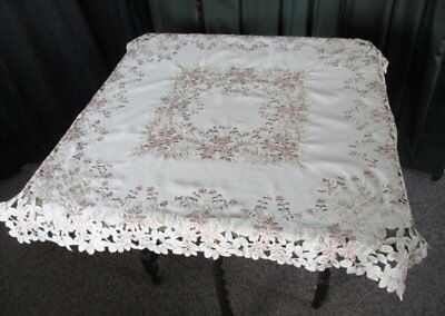 """PRETTY TABLECLOTH - EMBROIDERED with FLOWERS - 35"""" SQ."""
