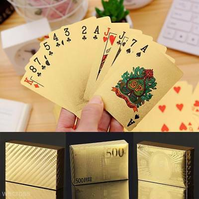 Stylish Waterproof 24K Gold Foil Plated Cover Poker 54 Playing Card Table Games